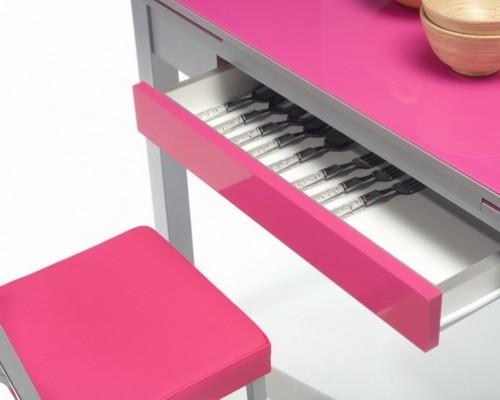 Detalle mesa de cocina rosa
