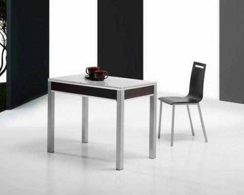 Mesa y sillas gris y negro
