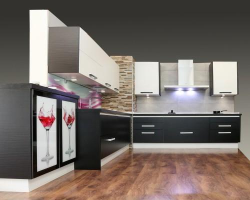 Mueble de cocina blanco y negro